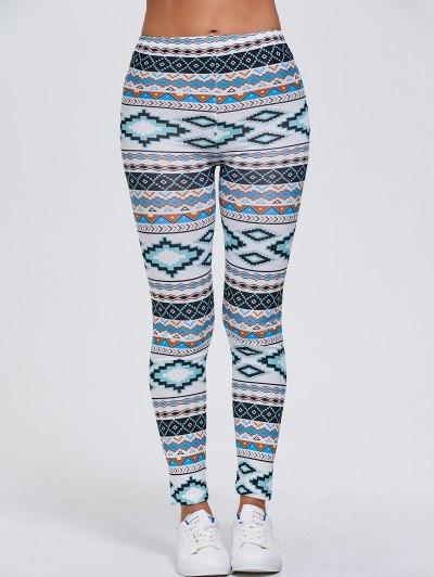Tribal Printed Stretchy Slimming Leggings - WHITE XL Mobile