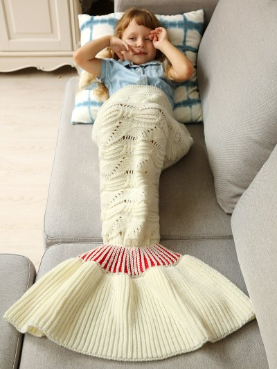 Knitted Hollowed Wrap Kids Mermaid Blanket - WHITE M Mobile