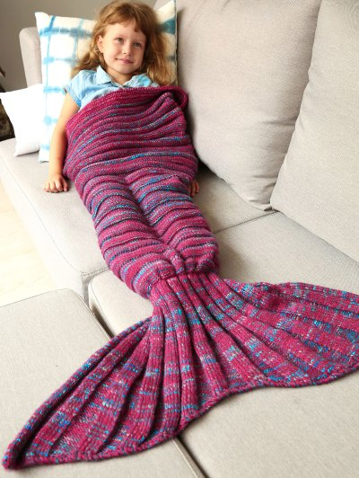 Kintted Kids Wrap Mermaid Tail Blanket - BLUE AND RED M Mobile