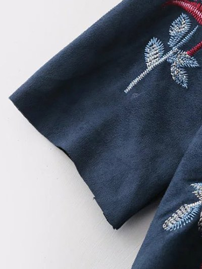 Faux Suede Embroidered Blouse - PURPLISH BLUE L Mobile