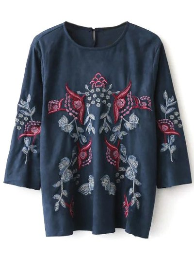 Faux Suede Embroidered Blouse - PURPLISH BLUE S Mobile