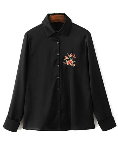 Slimming Embroidered Shirt - BLACK S Mobile