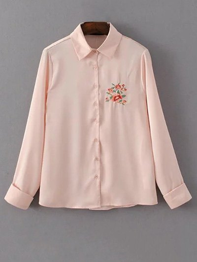 Slimming Embroidered Shirt - PINK S Mobile