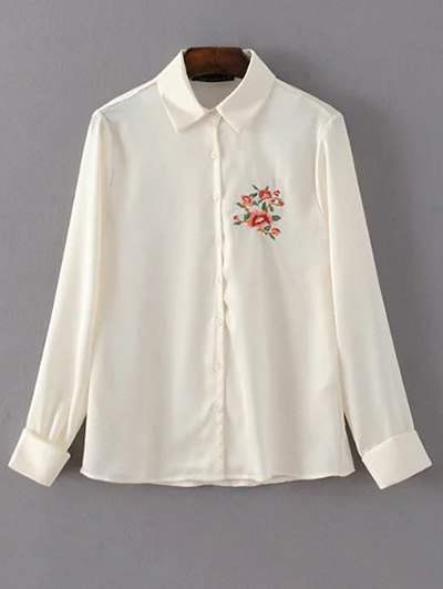 Slimming Embroidered Shirt - OFF-WHITE L Mobile
