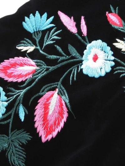 Ethnic Floral A-Line Skirt - BLACK M Mobile