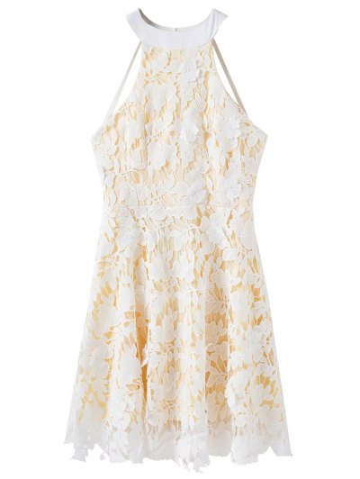Floral Applique Lace Dress - WHITE M Mobile