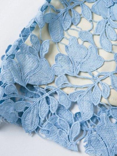Floral Applique Lace Dress - BLUE L Mobile