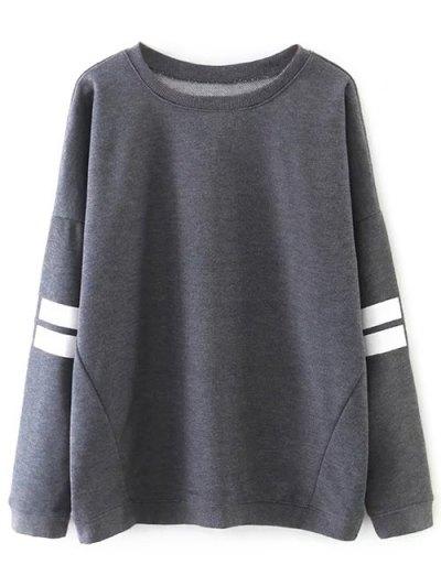 Striped Sports Sweatshirt - GRAY L Mobile