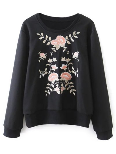 Loose Emroidered Sweatshirt - BLACK M Mobile