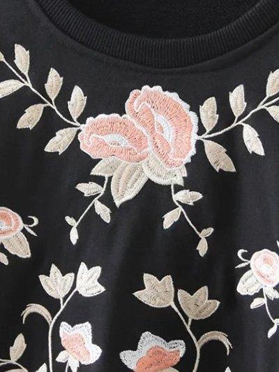 Loose Emroidered Sweatshirt - BLACK S Mobile