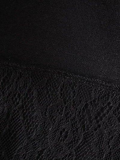 Long Lace Panel Hoodie - BLACK L Mobile