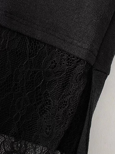 Long Lace Panel Hoodie - BLACK M Mobile