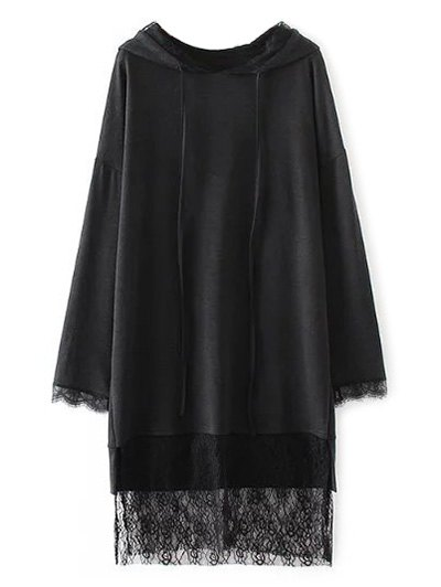 Long Lace Panel Hoodie - BLACK S Mobile