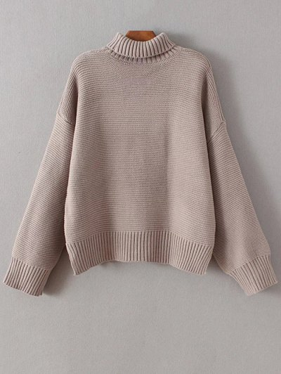 Oversized Turtle Neck Sweater - CAMEL ONE SIZE Mobile