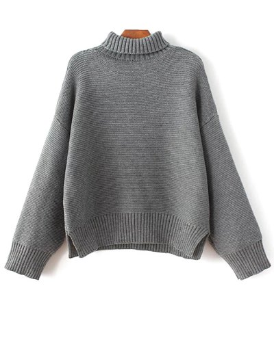 Oversized Turtle Neck Sweater - GRAY ONE SIZE Mobile