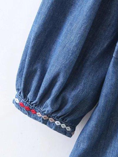 Embroidered Long Sleeve Vintage Dress - BLUE L Mobile