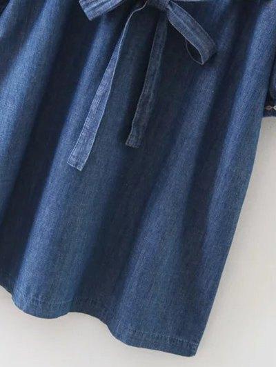 Embroidered Long Sleeve Vintage Dress - BLUE S Mobile