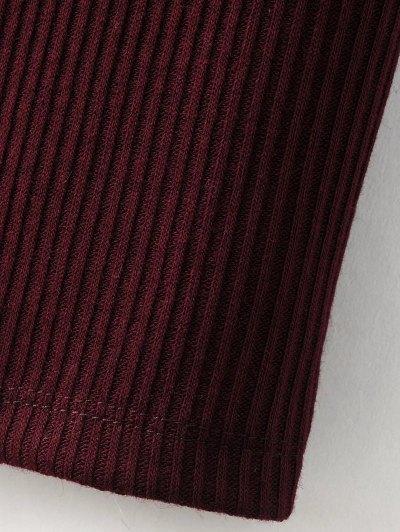 Lace-Up Knitting Dress - BLACK L Mobile