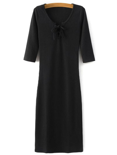 Lace-Up Knitting Dress - BLACK M Mobile