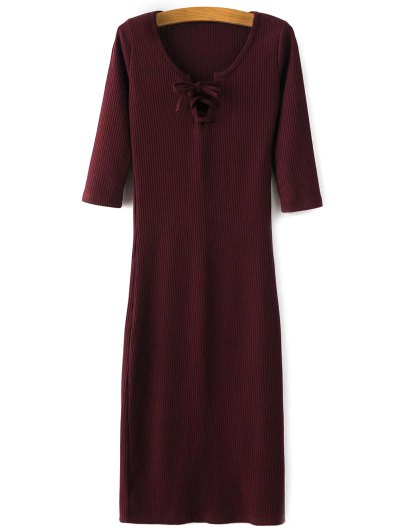 Lace-Up Knitting Dress - WINE RED L Mobile