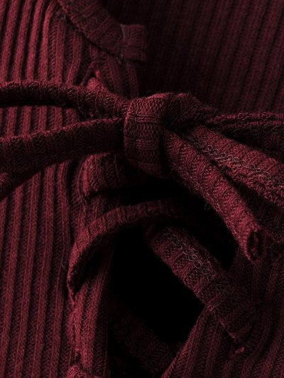 Lace-Up Knitting Dress - WINE RED M Mobile