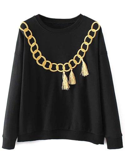 Embroidered Fringed Sweatshirt - BLACK M Mobile