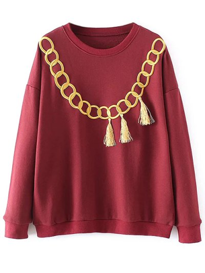Embroidered Fringed Sweatshirt - RED S Mobile