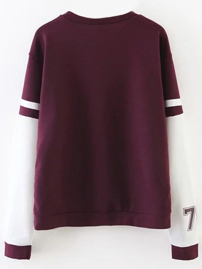Sports Figure Print Sweatshirt - WINE RED M Mobile