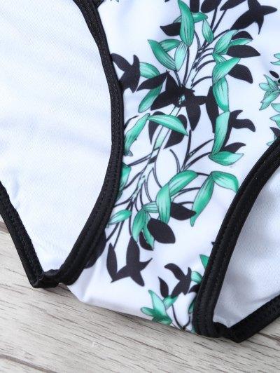 Printed Braided Underwire Bikini - WHITE L Mobile