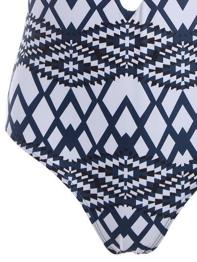 Geometric Cut Out One-Piece Swimwear - BLUE L Mobile