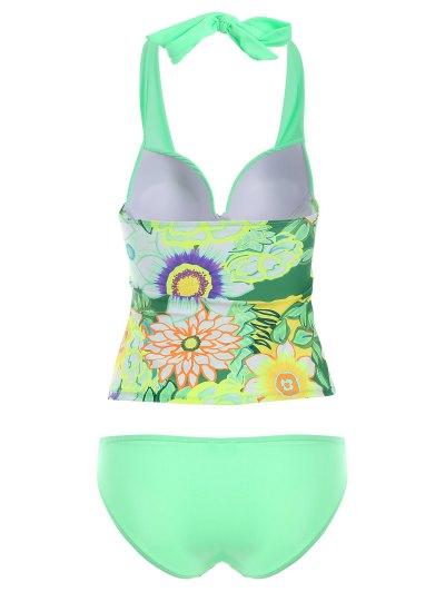 Floral Halter Tankini Set - GREEN L Mobile