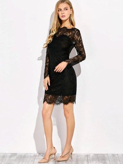 Sheer Yoke and Sleeve Lace Dress - BLACK L Mobile