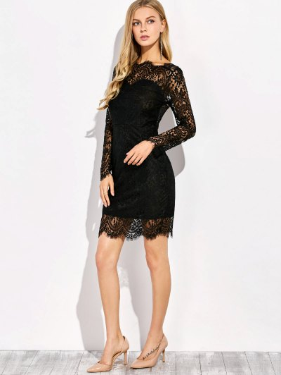 V Back Lace Dress With Sleeves - BLACK M Mobile