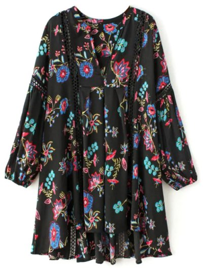 Floral High-Low Mini Dress - BLACK S Mobile