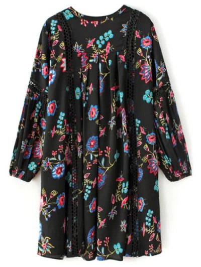 Floral High-Low Mini Dress - BLACK L Mobile