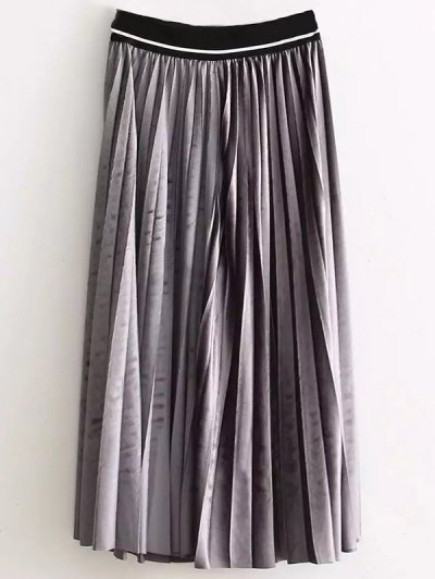 High Waist Pleated Velour Skirt - GRAY ONE SIZE Mobile