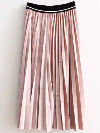 High Waist Pleated Velour Skirt - PINK ONE SIZE Mobile