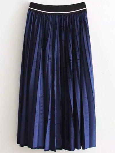 High Waist Pleated Velour Skirt - PURPLISH BLUE ONE SIZE Mobile