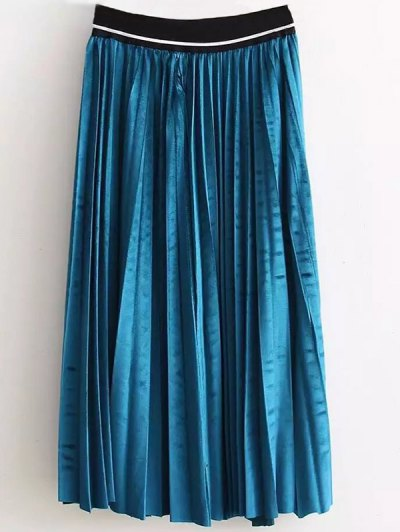 High Waist Pleated Velour Skirt - LAKE BLUE ONE SIZE Mobile