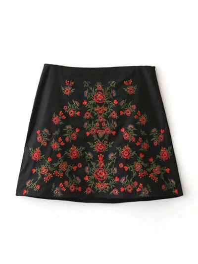 Embroidered A-Line Skirt - BLACK M Mobile