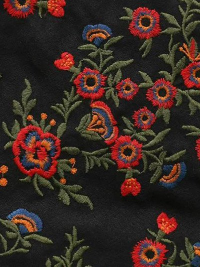Embroidered A-Line Skirt - BLACK S Mobile