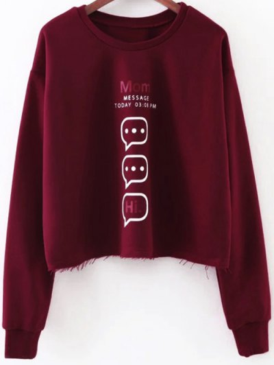 Raw Edge Graphic Sweatshirt - RED M Mobile