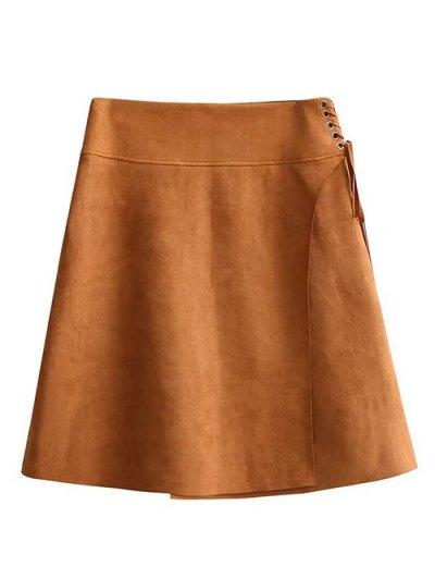 Faux Suede A-Line Mini Skirt - BROWN L Mobile