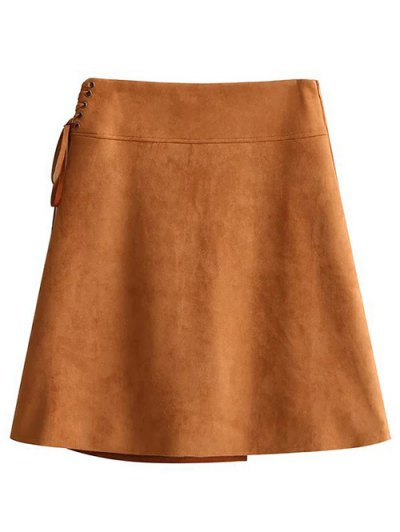 Faux Suede A-Line Mini Skirt - BROWN M Mobile