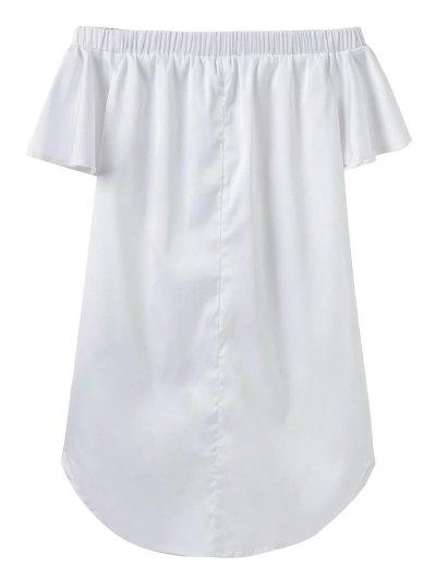 Off The Shoulder Floral Mini Dress - WHITE L Mobile