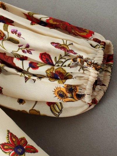 Floral High-Low Mini Dress - BEIGE L Mobile