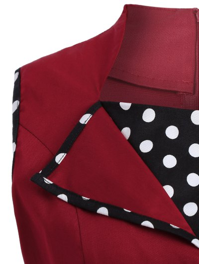 Vintage Sleeveless Polka Dot Dress - BURGUNDY 3XL Mobile