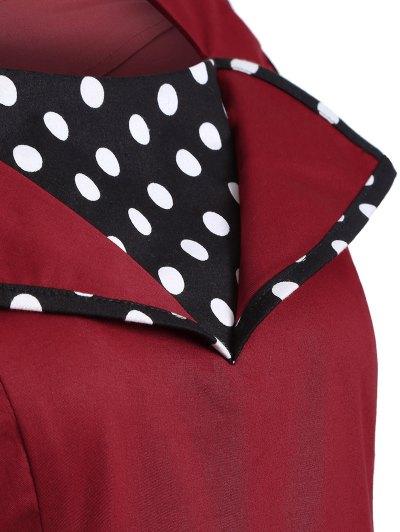 Vintage Sleeveless Polka Dot Dress - BURGUNDY 2XL Mobile