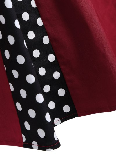 Vintage Sleeveless Polka Dot Dress - BURGUNDY L Mobile