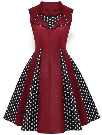Vintage Sleeveless Polka Dot Dress - BURGUNDY S Mobile